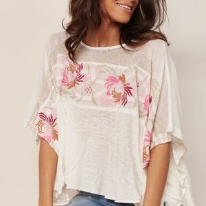 Free People Love Letter Floral Embroidered Tee